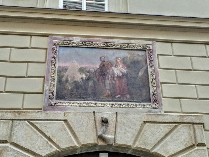 Painted detail of building, Prague 1