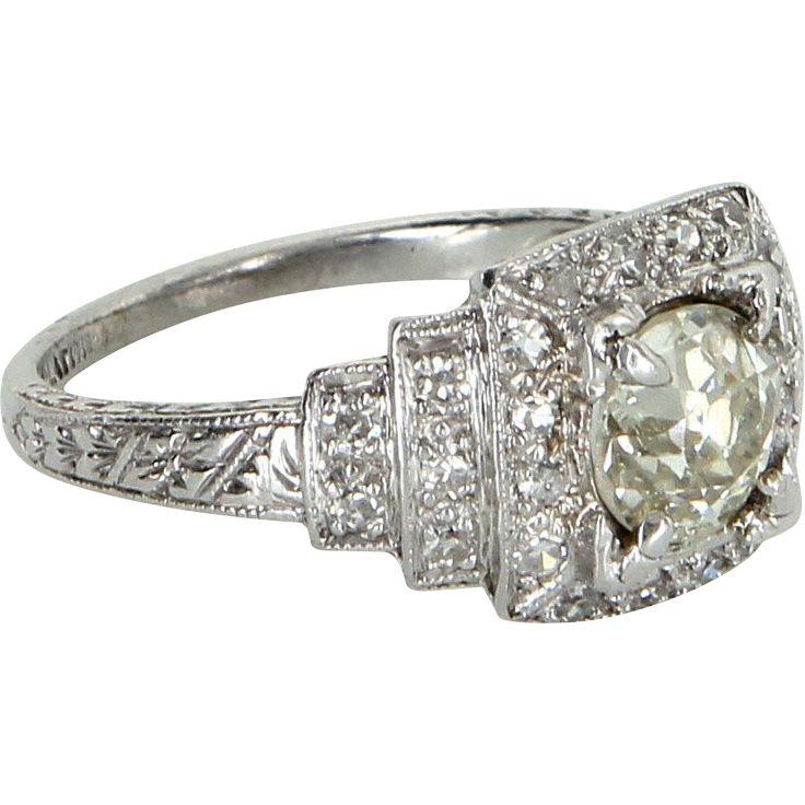 Vintage Art Deco 950 Platinum Diamond Engagement Ring Estate Fine Jewelry Heirloom from Sophie Jane on RubyLane.com