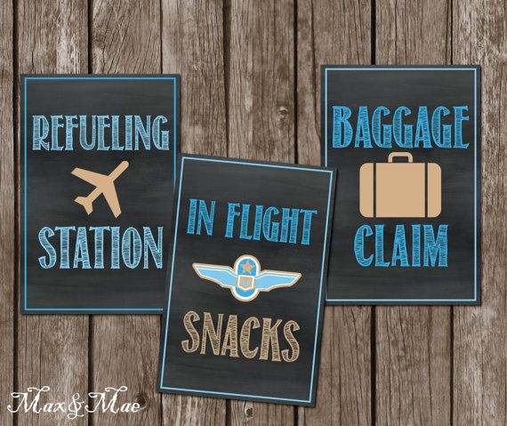 Airplane Birthday Party Get Ready For Takeoff: Airplane Birthday Signs, Vintage Chalkboard Signs