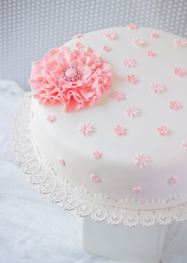 White Cake with Pink Blossoms