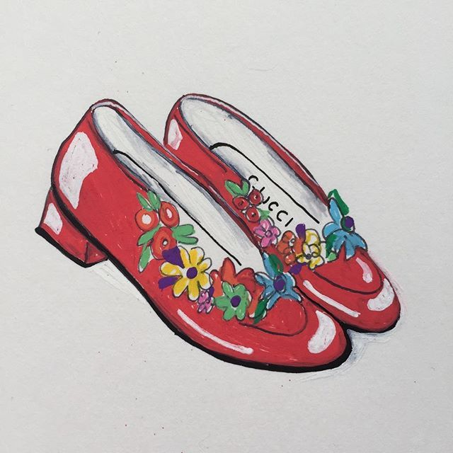 Gucci Shoes  .  .  .  #embroidery#embroideredshoes#guccishoes#gucci#gucciloafers#illustration#posca