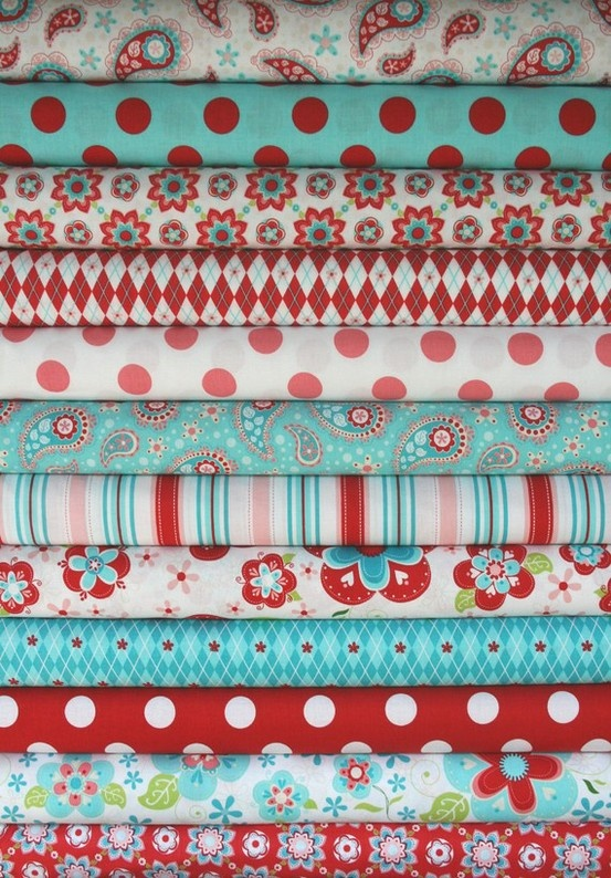 Red and aqua fabric, perfect for creating your own crib bedding.  #DIY #baby #nursery