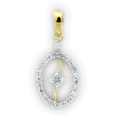 This Pendant from Uppergirdle is intricately done in 14k white gold weighting 1.58gms and dazzles with 27 round cut glorious diamonds of FG color and SI quality weighing in total of 0.40cts .The light-weight pendant Gross weights 1.66 gms only. All Uppergirdle products come with an igi certificate to assure confidence and integrity. Worn at all times. (Chain not included).