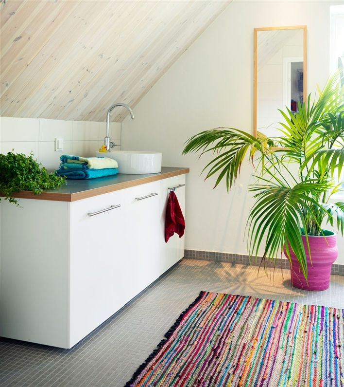Love the hot pink pot w bright green plant, and multi colored striped rug. Great bathroom accents!