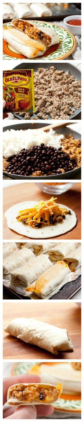 Mini burritos perfect for freezing and game-day snacking!