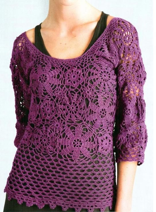 Crochet blouse, Blouse patterns and In spanish on Pinterest