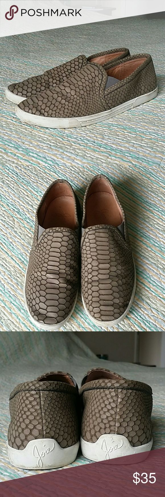 JOIE Kidmore Flint Taupe Python Embossed Leather 7 JOIE Kidmore Flint Taupe Gray Python Embossed Leather Slip On Sneaker Sz 37 US 7 Joie Shoes Flats & Loafers