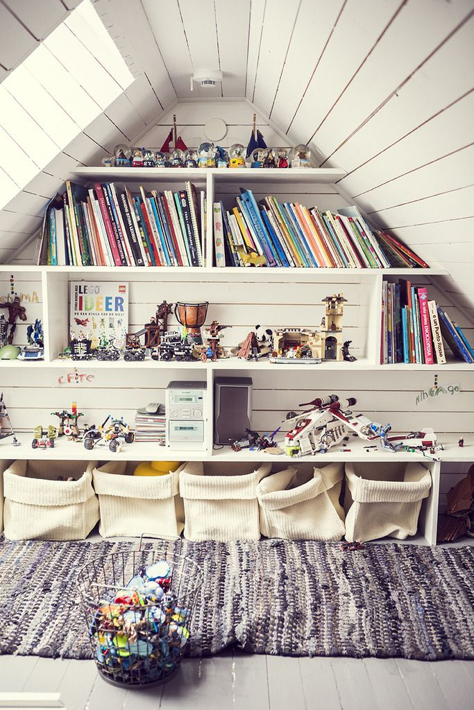 Attic, storage, books, reading nook: