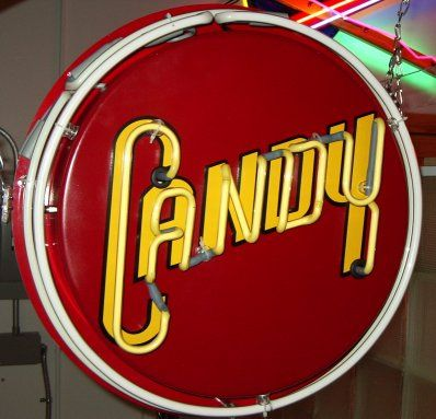 vintage window signs | Retro Style neon Candy window sign off