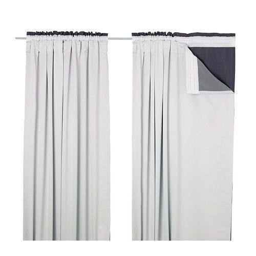 IKEA - GLANSNÄVA, Curtain liners, 1 pair, , The densely woven curtain liners darken the room and provide privacy by preventing people outside from seeing into the room.Effective at keeping out both drafts in the winter and heat in the summer.You can use the included hooks to attach the curtain liners to the heading tape on your curtains.The heading also has hidden tabs that allow you to hang the curtain liners directly on a curtain rod.
