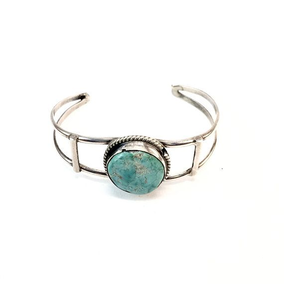 Southwestern Retro Jewelry Sterling Silver Native American Bracelet Vintage Turquoise Cuff