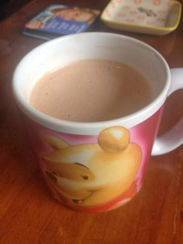 Bulletproof Hot chocolate: Add 60mls Coconut cream, 20gms Unsalted Butter, 2 tsps sugar (or use sugar substitute), 2 tsps Cocoa powder and enough boiling hot water to fill the cup.  Use an immersion blender until it's all blended and slightly frothy. Really easy, yummy and super filling :)