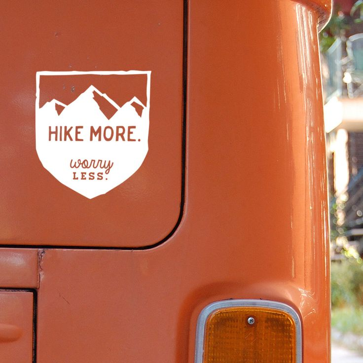 Hike More Worry Less: Mountain Hiking Badge Car Decal by MarkedCo on Etsy…