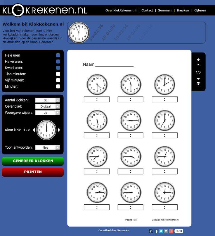 Handige site voor het maken van klokken. Te varieren in: hele uren, halve uren, kwart uur, 5 minuten, 10 minuten, minuten.  http://www.klokrekenen.nl/