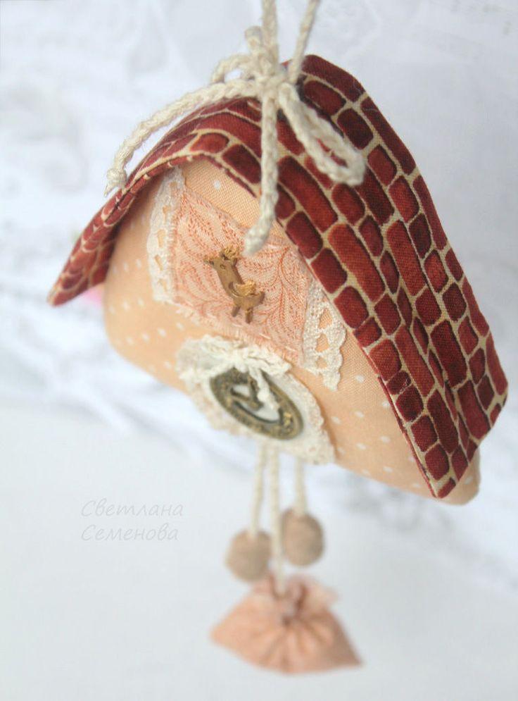 Купить Часы с кукушкой текстильные - коричневый, дом домик дома домики, текстильный дом домик