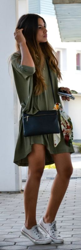 Pinterest: eighthhorcruxx.  Consuelo Paloma is wearing a khaki T-shirt dress and white Converse Dress: Asos