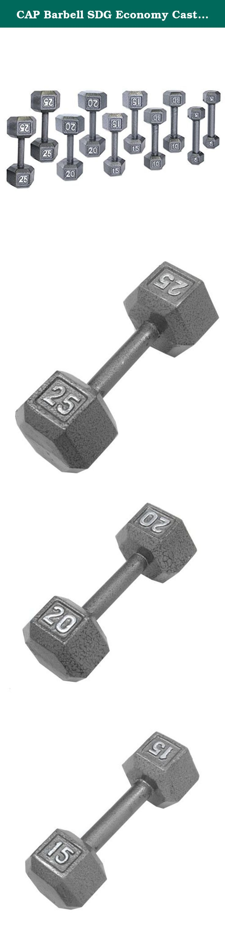 CAP Barbell SDG Economy Cast Iron Hex Dumbbell Set - 5, 10, 15, 20, 25 lbs (5 pairs) - Beginner Weight Training Set. Economy Cast Iron Hex Dumbbell Sets from CAP Barbell - Hex dumbbell sets are often the perfect dumbbell choice for home gym and garage gym use. They are economical and space efficient and for a lot of people that is the most important criteria when purchasing dumbbells for home use. Hexagonal dumbbell heads are non-rolling when set down on the floor or racks. Cast iron…