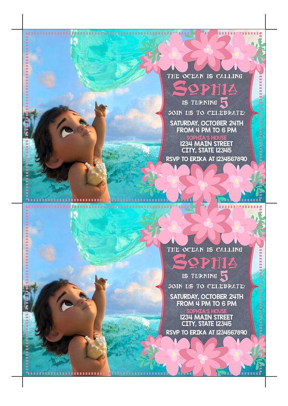 Moana Printed Invitation Invite Baby Birthday Party 2nd