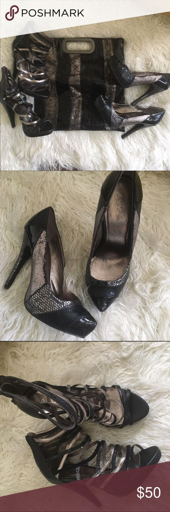 2 pair of Aldo heels & matching fold over clutch. Gently worn Aldo heels size 38 with matching fold over clutch purse. Sold as a bundle only. Aldo Other
