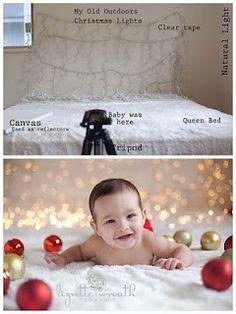 Foto Idee zu Weihnachten mit Lichterkette im Hintergrund.