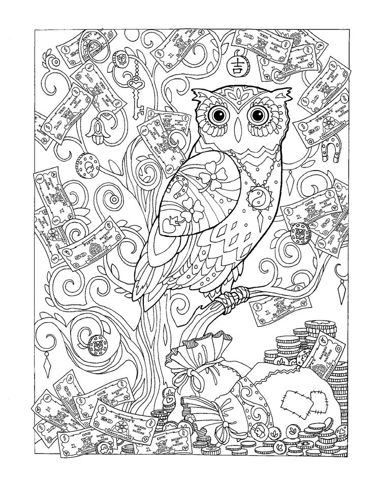Adult Coloring Pages Colouring Books Mandala Owls Relax Wonderland