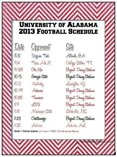 University of Alabama 2013 printable football schedule. ROLL TIDE