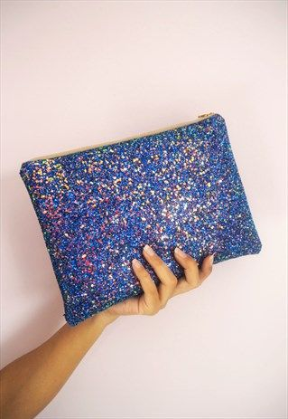 Royal+Blue+Glitter+Clutch+Bag
