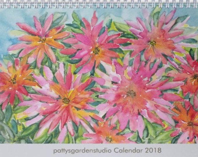 Floral Wall Calendar 2018 , 11 x 8.5  Floral Calendar, Watercolor Design, Floral Watercolor Design