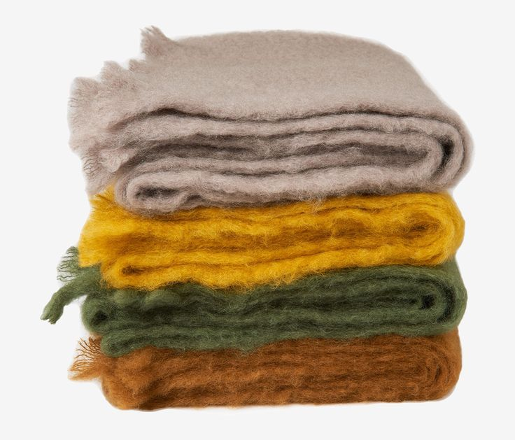 MOHAIR BLANKET | Naturally sheeny and silky mohair. Lightweight, cosy and warm. Woven in Spain by a traditional, family run firm. Softly frayed at ends.