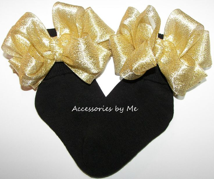 Glitzy Bow Socks Gold Metallic Black Sock Infant Baby Girls Toddler Accessories Wedding Princess 1st Birthday Pageant Dance Recital Occasion by accessoriesbyme on Etsy https://www.etsy.com/listing/490520805/glitzy-bow-socks-gold-metallic-black