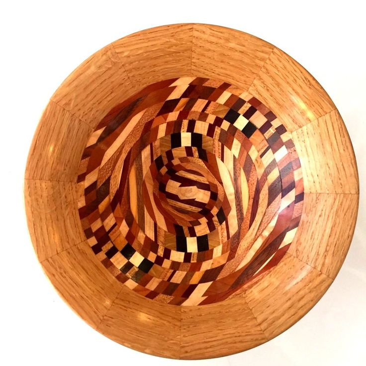Custom Designer Modern Hand Crafted Wood Inlay Puzzle Bowl Signed