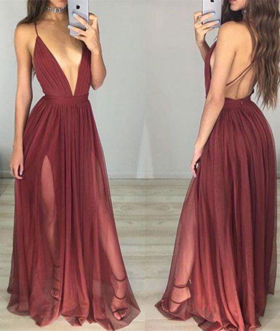 simple v neck chiffon Burgundy long prom dress, evening dress