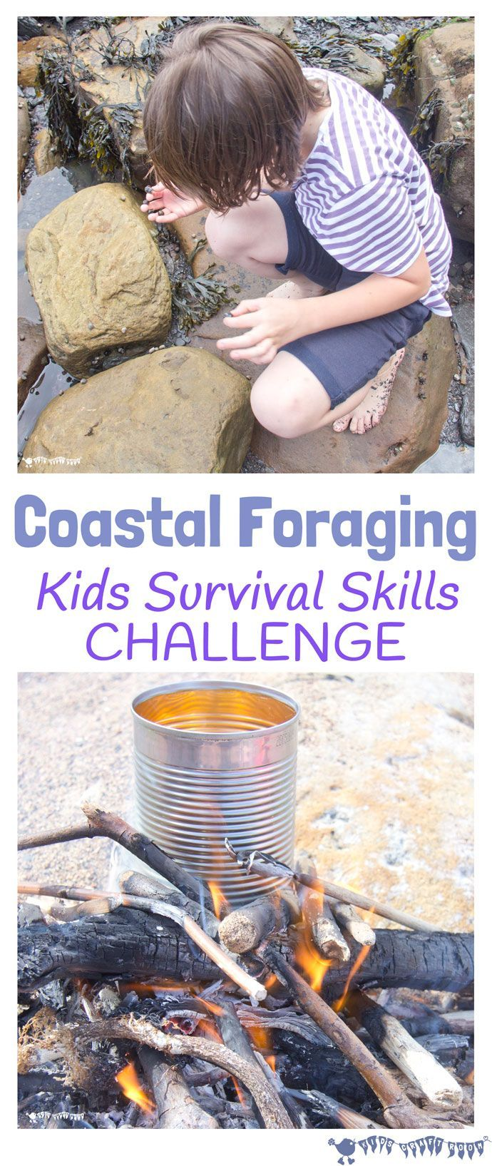 Coastal foraging is a fun survival skills for kids activity. Get kids outside…
