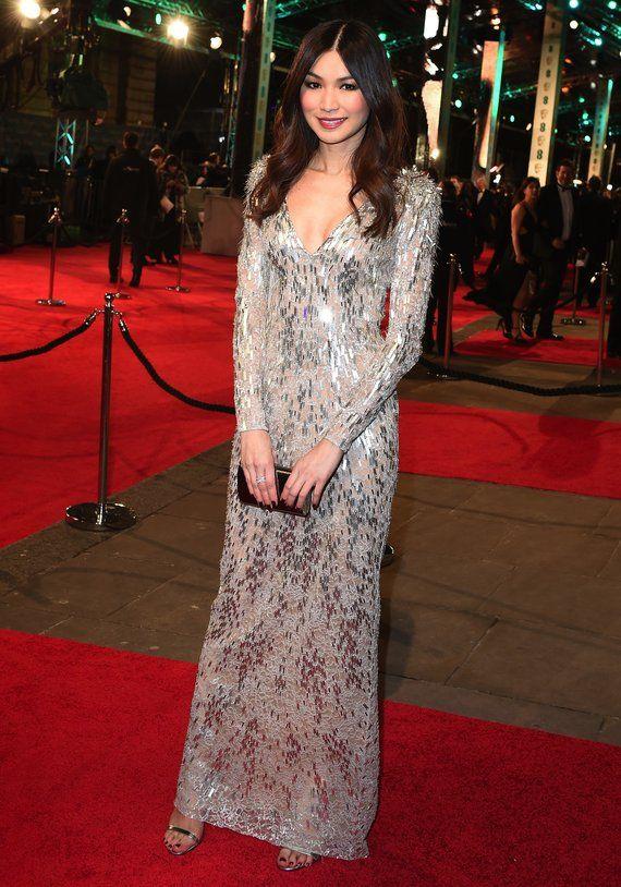 Gemma Chan in Jenny Packham Baftas red carpet 2016