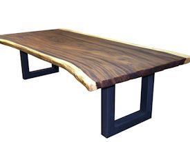 Guanacaste (Parota) Wood Slab Table Top with Tung Oil Citrus (TOC) Finish and a Custom Flat Metal Base.