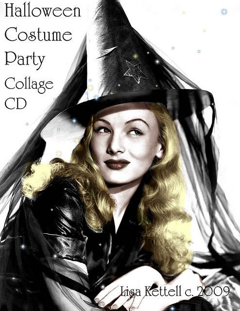 Classic Hollywood Actress Veronica Lake Vintage Halloween Witch Pin Up Girl Photo