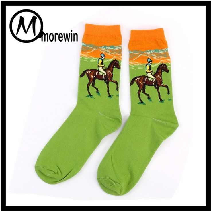 Morewin Brand Custom New Design Oil Painting Personal Middle Tube Sock Man Colorful Cotton Sock Manufacturer