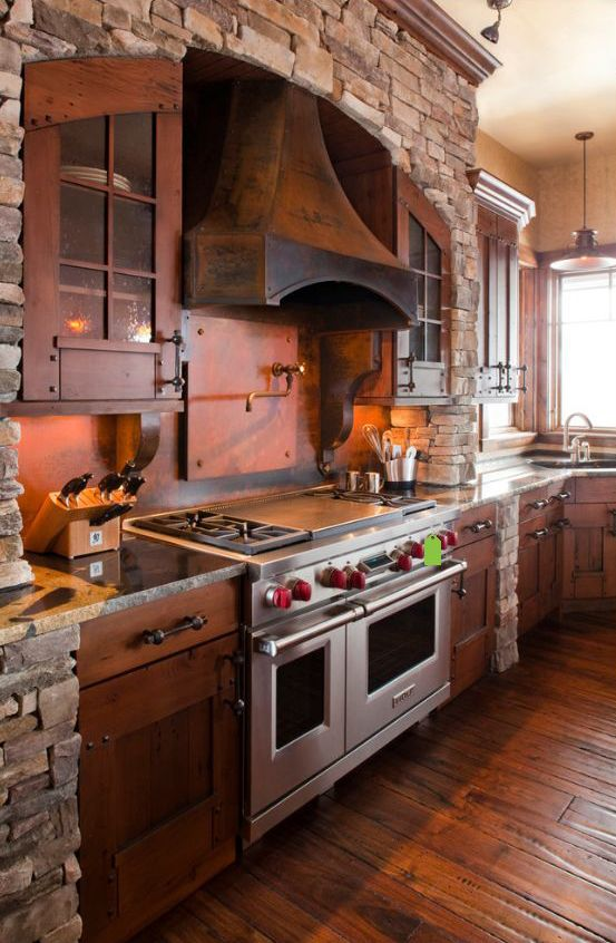 Terra Firma Custom Homes Rustic Kitchen I Love The Brick Wall Range Floor And Cabinets