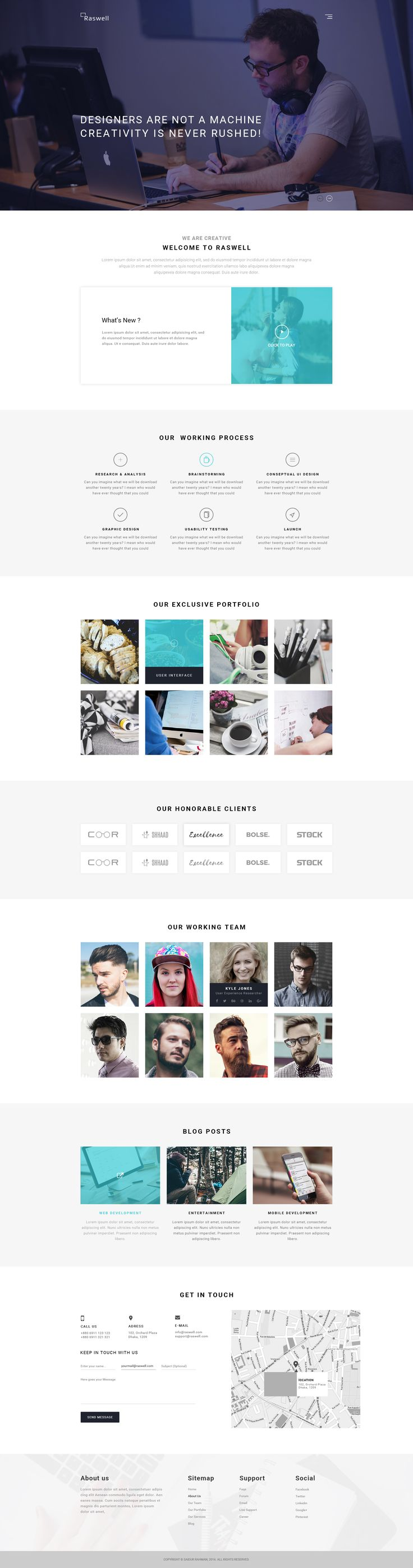 Raswell- One Page Creative PSD Template by creativezoone | ThemeForest