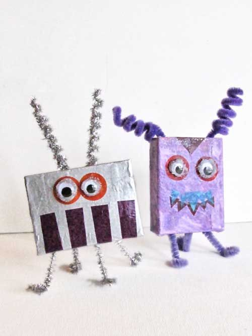 """Read """"Aliens Love Underpants"""" by Claire Freedman then create some aliens using empty jello boxes, scraps of tissue paper, decoupage glue, googly eyes and pipe cleaners."""