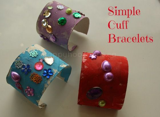 Cardboard roll bracelet: toilet roll craft for kids - happy hooligans