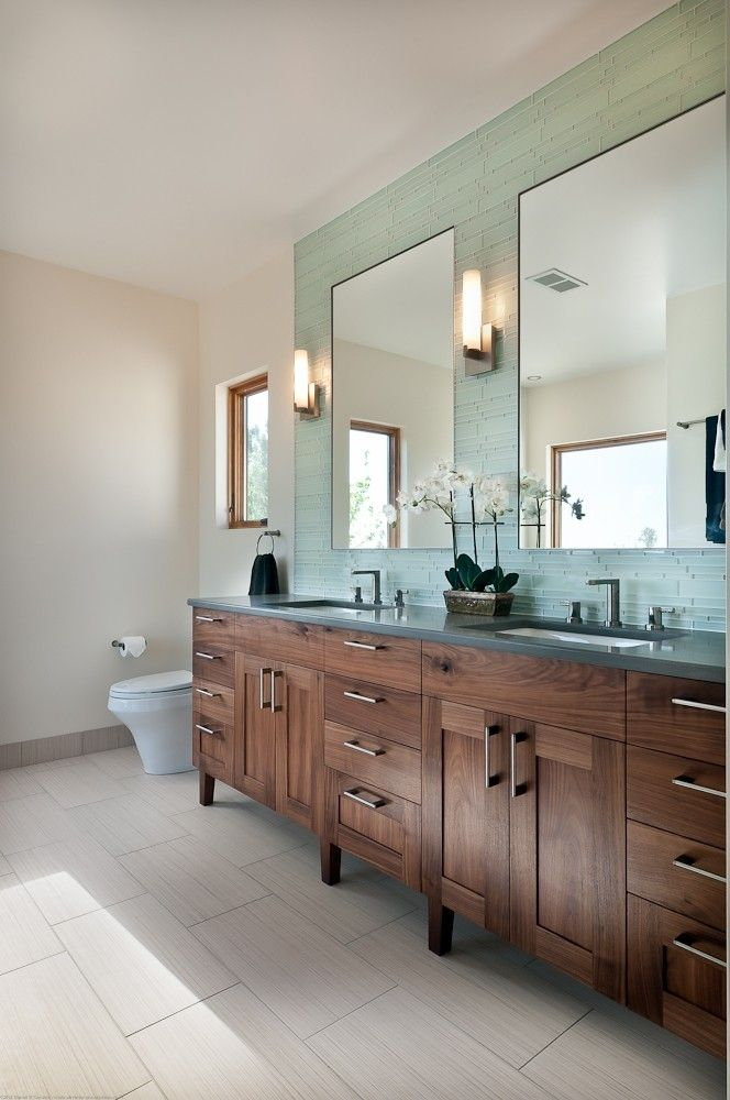The Art Gallery Master Bathroom Vanity contemporary walnut vanity double sinks