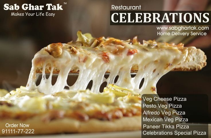 """Enjoy Delicious Pizza With Different Varieties   From """"Celebrations"""" Restaurant (Chhindwara) .. :)   -Veg Cheese Pizza  -Pesto Veg Pizza   -Alfredo Veg Pizza   -Mexican Veg Pizza   -Paneer Tikka Pizza   -Celebrations Special Pizza    Home Delivery Service In Chhindwara City ..  Save Time, Stay Relax .. :)   Order Now  91111-77-222  www.sabghartak.com"""