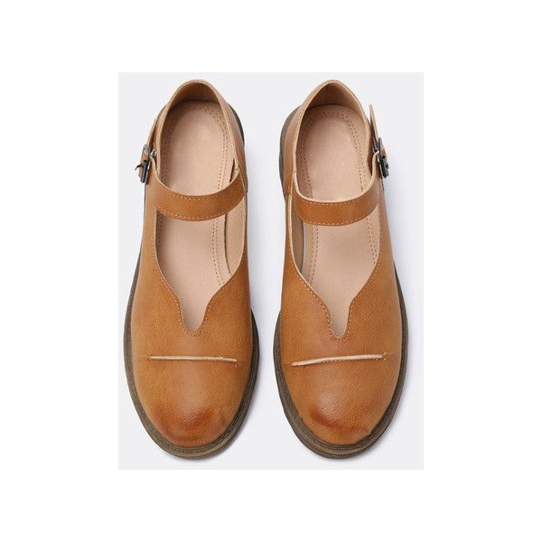 Curved Cut Vamp Brown Mary Jane Flats (2,200 INR) ❤ liked on Polyvore featuring shoes, flats, brown flat shoes, flat shoes, mary jane flat shoes, maryjane flats and brown shoes