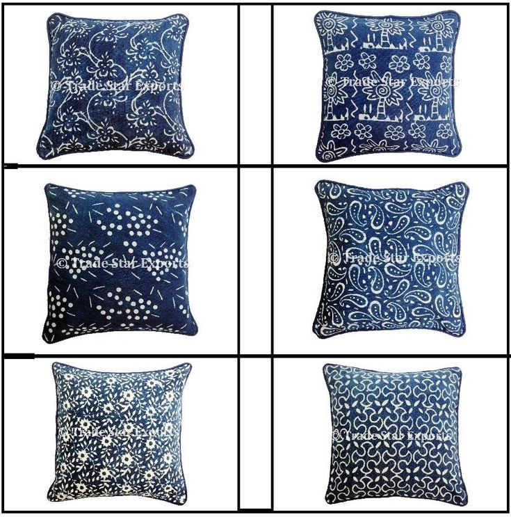 Indian Block Print Canvas Pillow Case 16x16 Indigo Home Decor Sofa Cushion Cover #Handmade #ArtDecoStyle