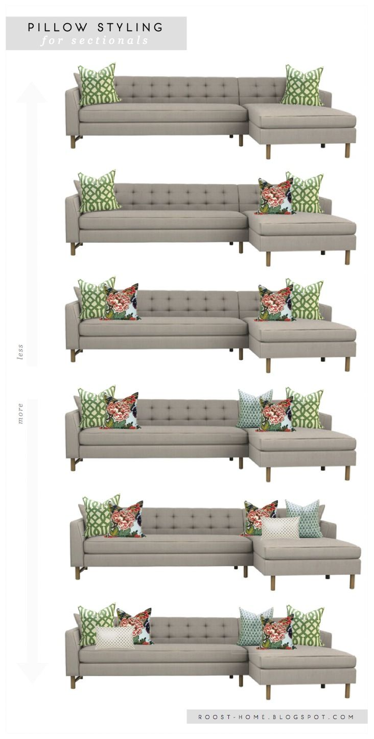 2 pile on the pillows pillow styling for sofas for Sectional sofa arrangement ideas