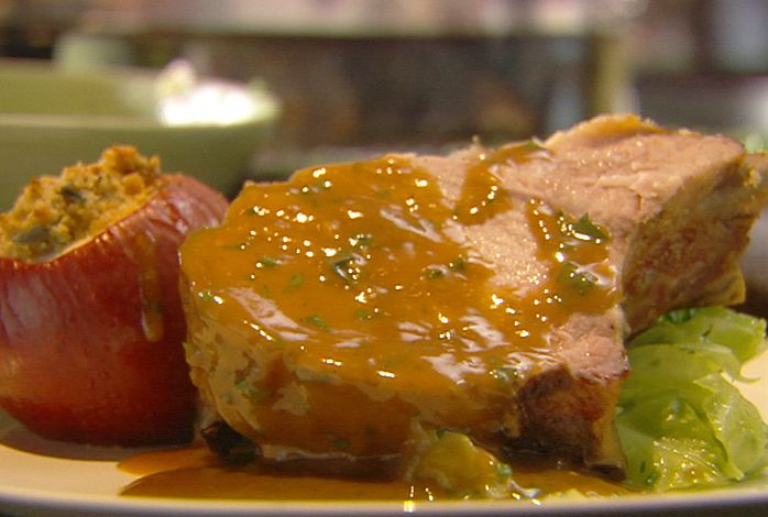 Roast Loin of Pork with Baked Apples and Cider Gravy from FoodNetwork.com