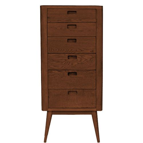 Erichsen-Contemporary-Mid-Century-6-Drawer-Tall-Boy-Chest-Mahogany