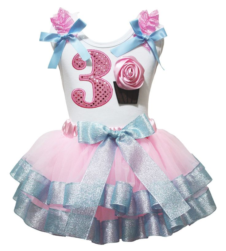 "Birthday Dress Bling 3rd Cupcake Shirt Pink Light Blue Petal Skirt Outfit Nb-8y (4-5 Years). a shirt, a skirt. made by lightweight material. stretchy and comfortable cotton shirt. 4-layers fantastic petal skirt. outfit in ""3rd & cupcake"" design, recommend for birthday wear."