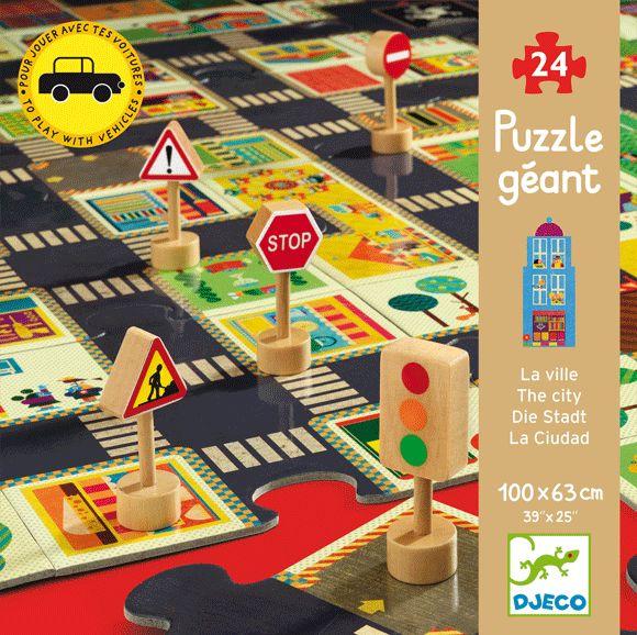 A város - óriás padló puzzle és közlekedési táblák 24 db (Djeco) | Pandatanoda.hu